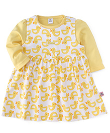 ToffyHouse Frock With Inner Top Allover Duck Print - Yellow