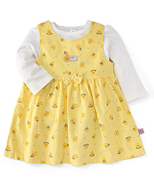ToffyHouse Frock With Full Sleeves Inner Top -  Yellow White
