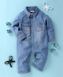 Happiness Denim Stylish Romper - Light Blue