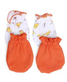 Babyhug Mittens Duckling Print Pack of 2 Pair - Orange White