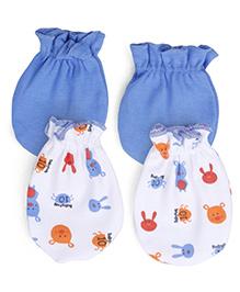 Babyhug Mittens Teddy Print Pack of 2 Pair - Blue White