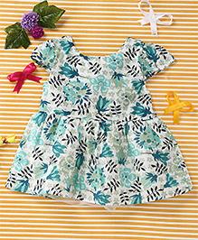 Smile Rabbit Flower Print Dress - Sea Green