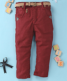 Little Star Casual Pant With Belt - Maroon