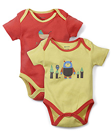 Ohms Shorts Sleeves Onesie Pack Of 2 I Love My Baby Print - Orange Yellow