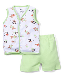 Ohms Sleeveless Vest And Shorts Animals Print - Green & White