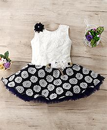 M'Princess Floral Applique Beautiful Dress - Blue