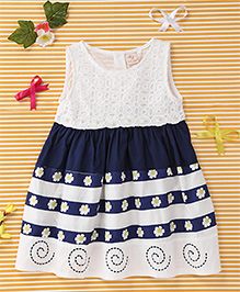 Smile Rabbit Elegant Floral Dress - White & Navy Blue