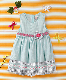 Smile Rabbit Flower Print Dress - Blue & White