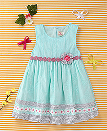 Smile Rabbit Flower Print Dress - Light Blue & White