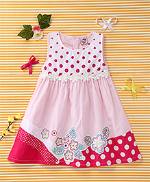Smile Rabbit Floral & Polka Dot Print Dress - Pink