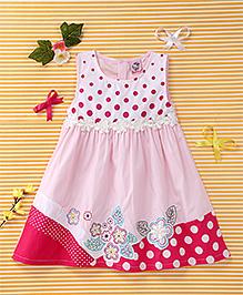 Smile Rabbit Floral & Polka Dot Print Dress - Pink
