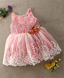 Enfance Embroidery Party Dress With Flower Applique - Pink