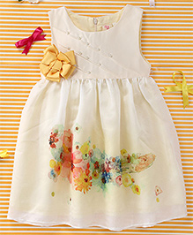 Smile Rabbit Flower Print Dress - Off White