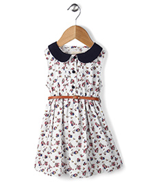 Ronoel Floral Print Dress With Belt - White & Black