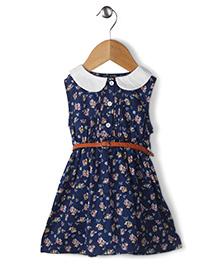 Ronoel Floral Print Dress With Belt - Dark Blue