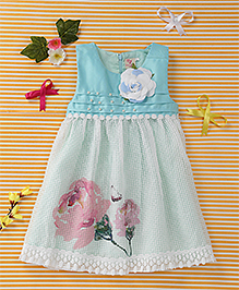 Smile Rabbit Floral Print Sleeveless Dress - Blue
