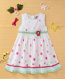 Smile Rabbit Floral Print Dress - White & Green