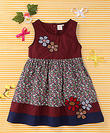 Smile Rabbit Elegant Floral Dress - Maroon