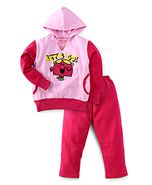 Valentine Full Sleeves Hooded Night Suit Let's Go Print - Pink