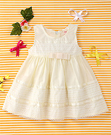Smile Rabbit Elegant Dress With Bow - Yellow
