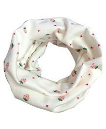 Milonee Small Strawberry Print Ring Muffler - White