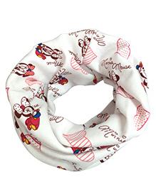 Milonee Minnie Mouse Print Ring Muffler - White