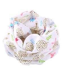 Milonee Little Birdie Print Ring Muffler - White