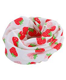 Milonee Strawberry Print Ring Muffler - White