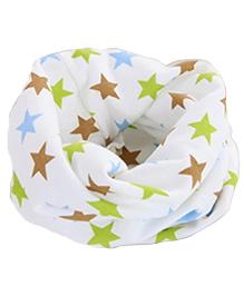 Milonee Star Print Ring Muffler - White