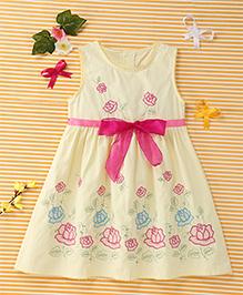 Yiyi Garden Floral Bow Applique Dress - Yellow