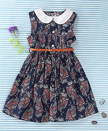Ronoel Floral Print Dress With Belt - Navy Blue