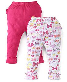 Babyhug Full Length Leggings Pack of 2 - White Pink
