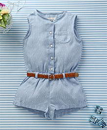 Ronoel Sleeveless Jumpsuit With Belt - Light Blue