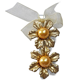 Sugarcart Two Flowers With Pearls & Bow On Alligator Clip - Golden