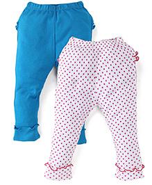 Babyhug Full Length Leggings Pack of 2 - Turquoise Blue White