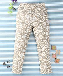 SPT Flower Print Pants - Light Brown