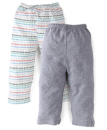 Babyhug Full Length Bottoms Pack of 2 - White Grey