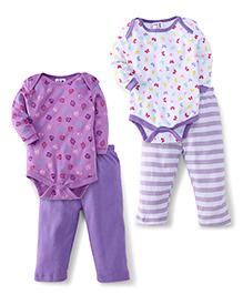 Kidi Wav Full Sleeves Butter Fly And Owl Design 2 Bodysuit & 2 Pyjama Sets - Lavender