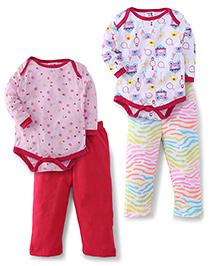 Kidi Wav Full Sleeves Palace Prints And Heart Prints 2 Bodysuit & 2 Pyjama Sets - Pink