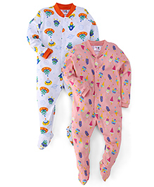 Kidi Wav Boat And Space Ship Prints Sleep Suit Pack Of 2 - Pink & Blue