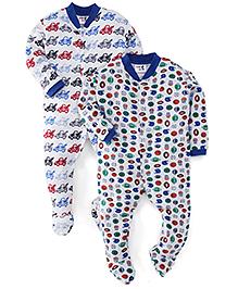 Kidi Wav Car And Ball Print Sleep Suit Pack Of 2 - White & Blue