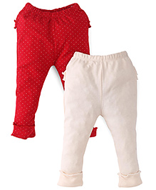 Babyhug Full Length Leggings Pack of 2 - Red Light Peach