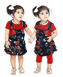 N - XT Floral Print Dungaree Style Frock Top And Leggings Set - Navy Red