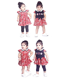 N - XT Floral Print Frock Top And Leggings Set - Red & Navy