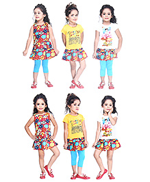 N - XT Floral Print Frock Tees Leggings Set - Multi Color