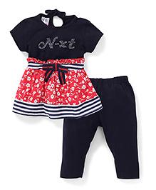 N - XT Short Sleeves Printed Frock And Leggings - Navy & Red