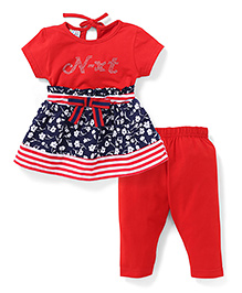 N - XT Short Sleeves Printed Frock And Leggings - Red & Navy