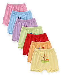 Simply Set Of 7 Multi Printed Bloomers - Multi Color