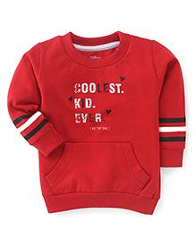 Palm Tree Full Sleeves Sweatshirt Text Print - Red