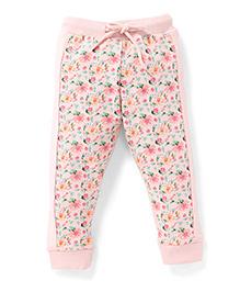 Gini & Jony Full Length Track Pant Floral Print - Light Pink